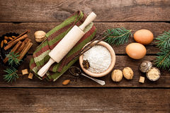 Christmas culinary background for baking. Culinary background for recipe of Christmas baking Stock Photo
