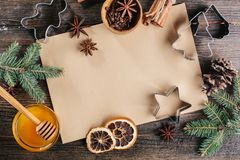 Christmas culinary background. Recipe baking cookies. Top view Royalty Free Stock Photography