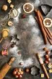 Christmas culinary background.Top view with copy space. Stock Image