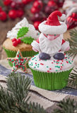 Christmas cup cakes Royalty Free Stock Photos