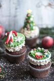 Christmas cup cakes Stock Images