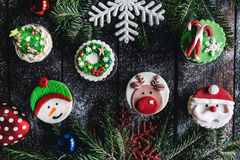 Christmas cup cakes time Stock Image