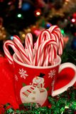Christmas cup with candy caes Royalty Free Stock Image