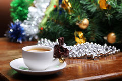 Christmas cup of coffee Stock Images