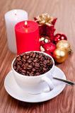 Christmas cup of coffee beans Royalty Free Stock Photo
