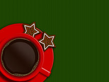 Christmas cup of coffee and cookies lying on green tablecloth Stock Images