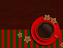 Christmas cup of coffee with cookies lying on wooden table Royalty Free Stock Images