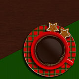 Christmas cup of coffee with cookies lying on wooden table Royalty Free Stock Photography