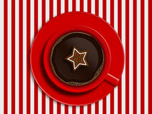 Christmas cup of coffee and gingerbread Stock Images