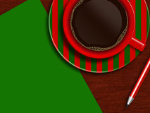 Christmas cup of coffee with green  letter and pencil Stock Photography