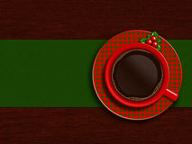 Christmas cup of coffee with holy lying on wooden table Royalty Free Stock Images