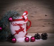 Christmas Cup ornament and Christmas decoration on wooden backg. Round.photo with copy space royalty free stock image