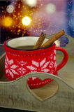 Christmas cup of tea and spices Royalty Free Stock Image