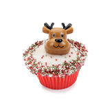 Christmas cupcake. Christmas (Rudolph) cupcake isolated on white stock image