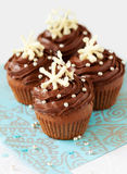 Christmas cupcake. Christmas chocolate cupcake decorated with snowflakes royalty free stock images