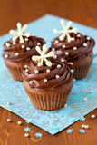 Christmas cupcake. Christmas chocolate cupcake decorated with snowflakes royalty free stock photo
