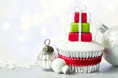 Christmas cupcake. With copy space to side stock image