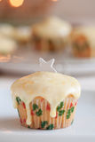 Christmas cupcake. Delicious christmas cupcake with silver star on top Royalty Free Stock Image