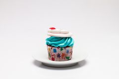 Christmas cupcake with butter cream icing. Stock Photo