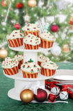Christmas cupcake on cake tier Stock Images