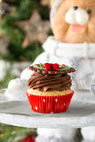 Christmas cupcake with chocolate cream Stock Photography