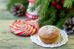 Christmas cupcake on the Christmas table. Shallow DOF stock photos