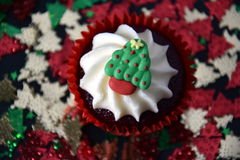 Christmas cupcake with Christmas tree and whipped cream topping Stock Photo
