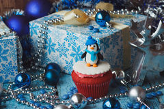 Christmas cupcake with colored decorations Stock Photography