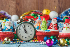 Christmas cupcake with colored decorations Royalty Free Stock Images