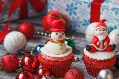 Christmas cupcake with colored decorations Royalty Free Stock Photography