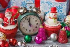 Christmas cupcake with colored decorations Stock Images