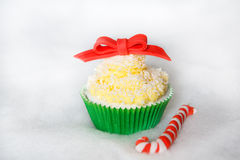 Christmas cupcake with creme cheese and  fondant frosting Royalty Free Stock Photography