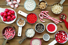 Christmas cupcake decorations. And sprinkles royalty free stock image