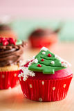 Christmas cupcake with  decorative symbols Stock Photo