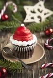 Christmas cupcake. Delicious Christmas cupcake on plate royalty free stock image