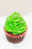 Christmas cupcake. Delicious cupcake in the shape of Christmas trees stock photo