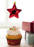 Christmas  cupcake Stock Images
