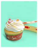 Christmas Cupcake on green background. close up Stock Photography