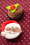 Christmas cupcake. For the new year with Santa Claus stock photo