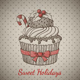 Christmas cupcake in sketch style. Royalty Free Stock Images