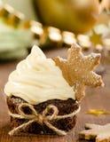 Christmas cupcake with snow flake Royalty Free Stock Image