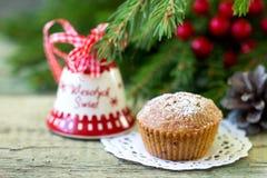 Christmas cupcake on the Christmas table. Shallow DOF royalty free stock photos
