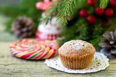 Christmas cupcake on the Christmas table. Shallow DOF stock photo