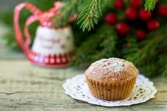 Christmas cupcake on the Christmas table. Shallow DOF stock photography