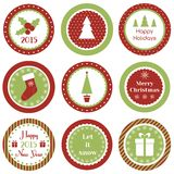 Christmas cupcake toppers. Cupcake toppers for Christmas and New Year stock illustration