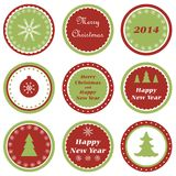 Christmas cupcake toppers. Set of tags for Christmas and New Year Royalty Free Stock Photo