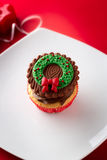 Christmas cupcake with traditional decorative element Royalty Free Stock Images