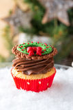 Christmas cupcake in traditional red green colors Royalty Free Stock Images