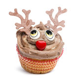 Christmas cupcake on white background. In front of white background stock image