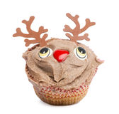 Christmas cupcake on white background Royalty Free Stock Photo